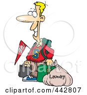 Royalty Free RF Clip Art Illustration Of A Cartoon College Boy Returning Home With Dirty Laundry