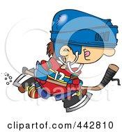 Royalty Free RF Clip Art Illustration Of A Cartoon Boy Hockey Player by toonaday