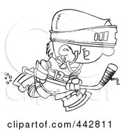 Royalty Free RF Clip Art Illustration Of A Cartoon Black And White Outline Design Of A Boy Hockey Player