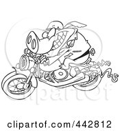 Royalty Free RF Clip Art Illustration Of A Cartoon Black And White Outline Design Of A Biker Pig