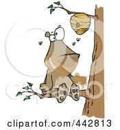 Royalty Free RF Clip Art Illustration Of A Cartoon Bear Sitting On A Branch And Getting Honey by toonaday