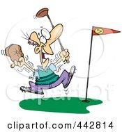 Royalty Free RF Clip Art Illustration Of A Cartoon Golfer Celebrating A Hole In One