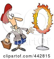 Cartoon Businesswoman Standing By A Flaming Hoop