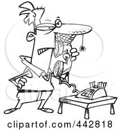 Cartoon Black And White Outline Design Of A Man Waiting On Hold With Cobwebs On His Face