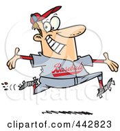 Royalty Free RF Clip Art Illustration Of A Cartoon Baseball Man Making A Home Run