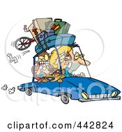 Cartoon Exhausted Family Homeward Bound From A Road Trip