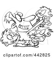 Royalty Free RF Clip Art Illustration Of A Cartoon Black And White Outline Design Of A Dad Horse Playing With His Boys