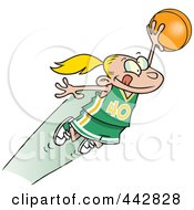 Royalty Free RF Clip Art Illustration Of A Cartoon Girl Leaping With A Basketball by toonaday