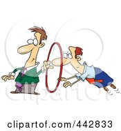 Royalty Free RF Clip Art Illustration Of A Cartoon Businessman Leaping Through A Hoop by toonaday