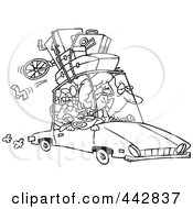 Royalty Free RF Clip Art Illustration Of A Cartoon Black And White Outline Design Of An Exhausted Family Homeward Bound From A Road Trip by Ron Leishman