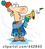 Royalty Free RF Clip Art Illustration Of A Cartoon Winter Man Playing A Horn