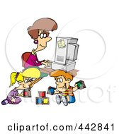 Royalty Free RF Clip Art Illustration Of A Cartoon Woman Working On Her Computer As Her Kids Play