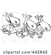 Royalty Free RF Clip Art Illustration Of A Cartoon Black And White Outline Design Of Racing Horses