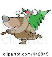 Cartoon Bear Carrying A Christmas Tree