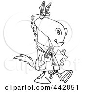 Royalty Free RF Clip Art Illustration Of A Cartoon Black And White Outline Design Of A Doctor Horse by toonaday
