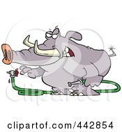 Royalty Free RF Clip Art Illustration Of A Cartoon Elephant Turning A Hose On