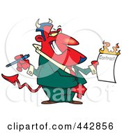 Royalty Free RF Clip Art Illustration Of A Cartoon Devil Holding A Hot Contract by Ron Leishman