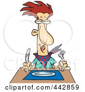 Royalty Free RF Clip Art Illustration Of A Cartoon Hungry Man Waiting For His Dinner by toonaday