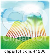 Clipart Illustration Of A Rainbow Shining Down Over Green Agricultural Hills