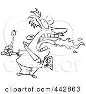 Royalty Free RF Clip Art Illustration Of A Cartoon Black And White Outline Design Of A Firey Mouthed Man With Hot Sauce by toonaday