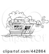 Royalty Free RF Clip Art Illustration Of A Cartoon Black And White Outline Design Of A Couple On Their House Boat