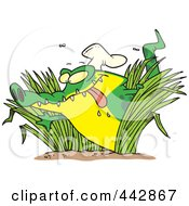 Royalty Free RF Clip Art Illustration Of A Cartoon Hungry Chef Gator In Grasses by toonaday