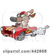 Royalty Free RF Clip Art Illustration Of A Cartoon Dog Racing A Hot Rod by Ron Leishman