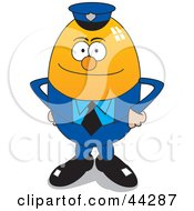 Clipart Illustration Of A Police Officer Egg Character Standing In Uniform