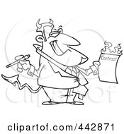 Royalty Free RF Clip Art Illustration Of A Cartoon Black And White Outline Design Of A Devil Holding A Hot Contract by Ron Leishman