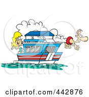Royalty Free RF Clip Art Illustration Of A Cartoon Couple On Their House Boat by toonaday
