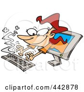 Royalty Free RF Clip Art Illustration Of A Cartoon Woman Typing From A Computer Screen