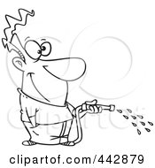 Royalty Free RF Clip Art Illustration Of A Cartoon Black And White Outline Design Of A Man Using A Garden Hose