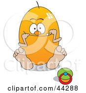 Clipart Illustration Of A Yellow Egg Baby Character Sitting By A Pacifier