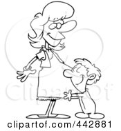 Royalty Free RF Clip Art Illustration Of A Cartoon Black And White Outline Design Of A Son Hugging His Pregnant Mom by toonaday
