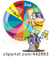 Royalty Free RF Clip Art Illustration Of A Cartoon Game Show Host With A Wheel