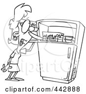 Royalty Free RF Clip Art Illustration Of A Cartoon Black And White Outline Design Of A Woman Standing By A Freezer During A Hot Flash