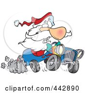 Royalty Free RF Clip Art Illustration Of A Cartoon Santa Driving A Hot Rod by toonaday