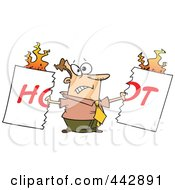 Royalty Free RF Clip Art Illustration Of A Cartoon Man Tearing A Hot Sign by toonaday