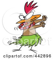 Royalty Free RF Clip Art Illustration Of A Cartoon Chicken Hula Dancing