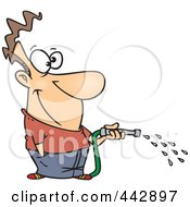 Royalty Free RF Clip Art Illustration Of A Cartoon Man Using A Garden Hose by toonaday