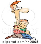 Cartoon Father Kneeling To Hug His Son