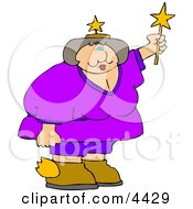 Obese Fairy Holding A Star Wand Clipart