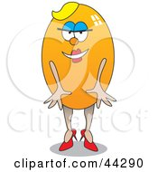 Clipart Illustration Of A Blond Yellow Egg Woman by toonster