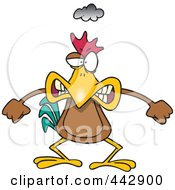 Royalty Free RF Clip Art Illustration Of A Cartoon Mad Chicken by Ron Leishman