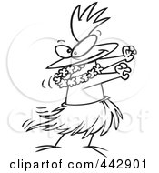 Cartoon Black And White Outline Design Of A Chicken Hula Dancing