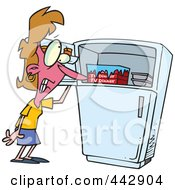 Royalty Free RF Clip Art Illustration Of A Cartoon Woman Standing By A Freezer During A Hot Flash by toonaday