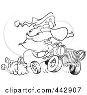 Royalty Free RF Clip Art Illustration Of A Cartoon Black And White Outline Design Of Santa Driving A Hot Rod