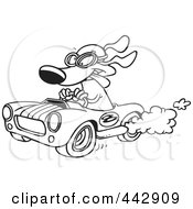 Royalty Free RF Clip Art Illustration Of A Cartoon Black And White Outline Design Of A Dog Racing A Hot Rod by toonaday