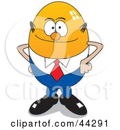 Clipart Illustration Of A Balding Yellow Egg Businessman by toonster