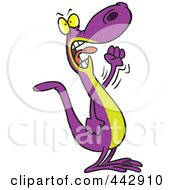 Royalty Free RF Clip Art Illustration Of A Cartoon Mad Lizard Waving His Fist by toonaday